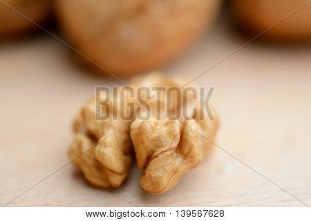 Walnut kernel closeup. Shallow depth of field.
