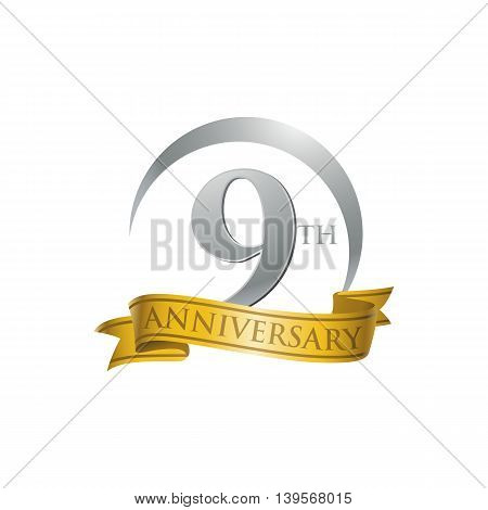 9th anniversary gold logo template. Creative design. Business success
