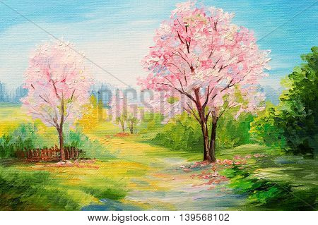 oil painting colorful forest сherry blossoms art watercolour