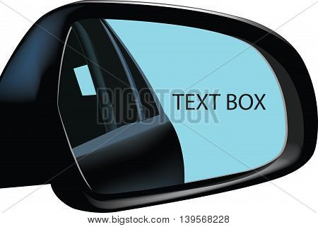 Rearview Mirror advertising rear-view mirror of a car that reflects advertising
