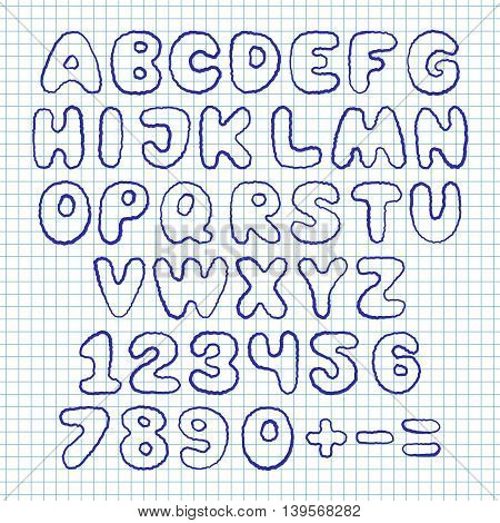 Hand draw doodle font on school squared paper. Vector illustration