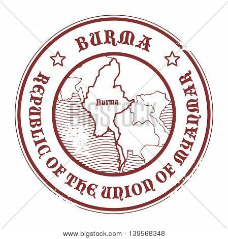Grunge rubber stamp with the name and map of Burma, vector illustration