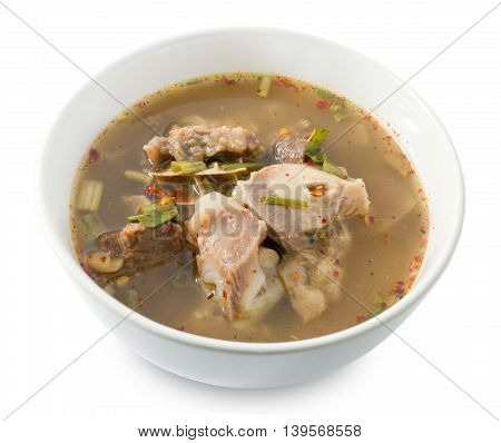 Thai Cuisine and Food Delicious Thai Clear Spicy Hot and Sour Soup with Beef Entrails Isolated on White Background.