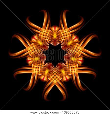 Golden fire ornate decorative rhythmic flamy smudge floral pattern on the black background. Six patterns in different directions.