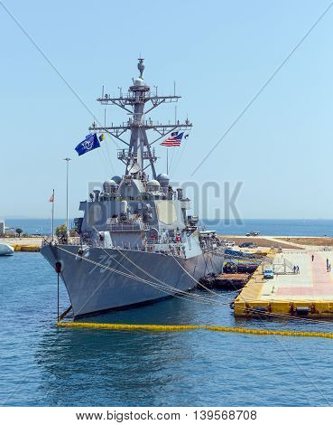 PIRAEUS, GREECE - JULY 1: Arleigh Burke class guided missile destroyer
