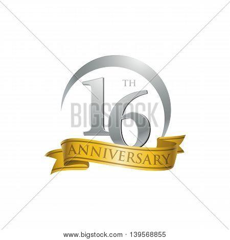 16th anniversary gold logo template. Creative design. Business success