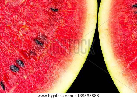 Melon pattern isolated on a black background, the view from the top.