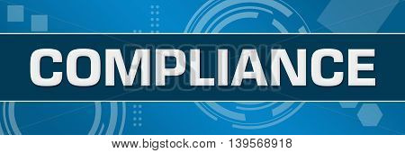 Compliance text written over abstract blue background.