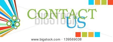 Contact us text written over colorful background.