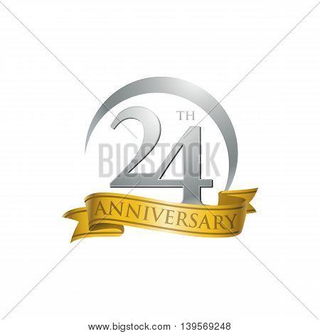 24th anniversary gold logo template. Creative design. Business success