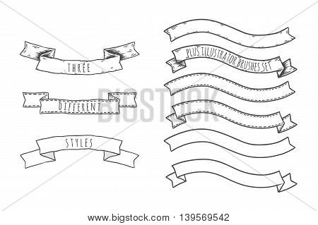 Hand drawn set of ribbons and banners. Vector collection. Isolated and layered.