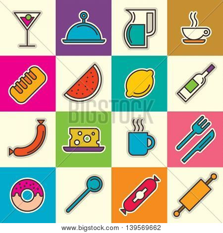 Various food and drink icons. Vector illustration.