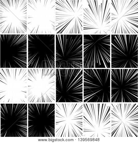 Comic book superhero pop art style black and white radial lines background. Manga or anime speed frame. Big collection of Explosion.