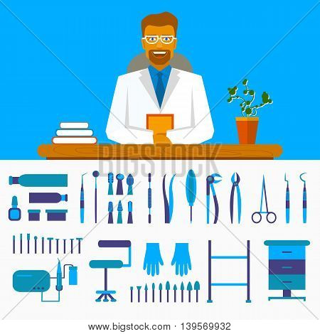 Dental office. Smiling dentist in costume at the table. Set of dentist tools and equipments