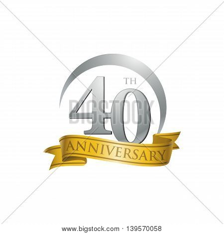 40th anniversary gold logo template. Creative design. Business success