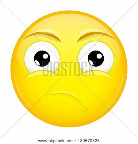 What emoji. Sad emotion. Puzzled emoticon. Vector illustration smile icon.