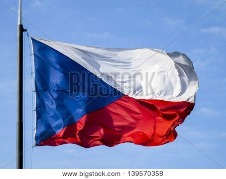 Close up shot of the Czech flag blowing in the wind