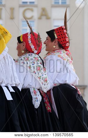 ZAGREB, CROATIA - JULY 23: Members of folk group Kolo from Donja Bebrina, Croatia  during the 50th International Folklore Festival in center of Zagreb, Croatia on July 23, 2016