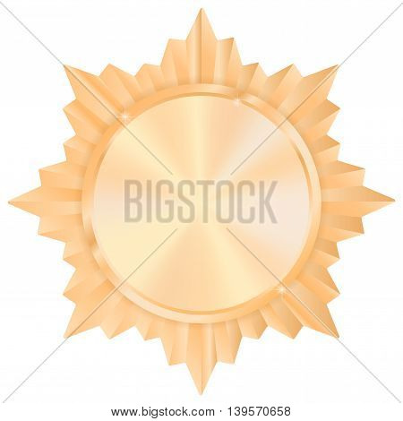 Bronze medal. Shiny Order star. Empty award sign. Vector illustration isolated on white background