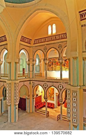 CARTHAGE, TUNISIA - APRIL 29, 2008: Interior of Saint Louis Cathedral (Carthage), Tunisia. Since 1993 the cathedral is known as the
