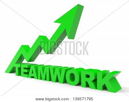 Graph up teamwork arrow on white background. 3D illustration.