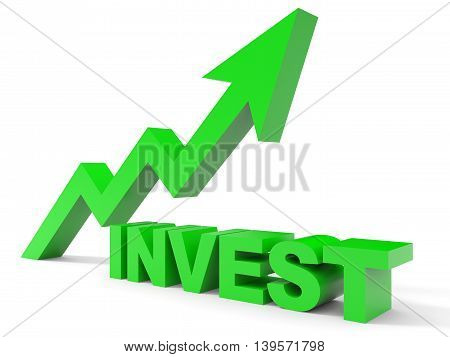 Graph up invest arrow on white background. 3D illustration.