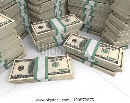 One Hundred Dollar Banknotes Background.