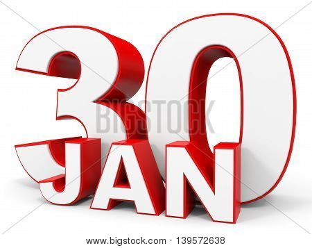January 30. 3D Text On White Background.