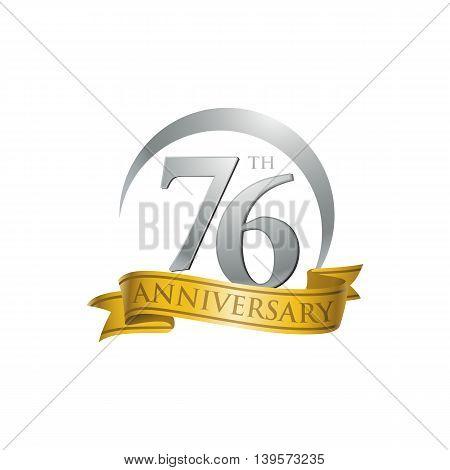76th anniversary gold logo template. Creative design. Business success