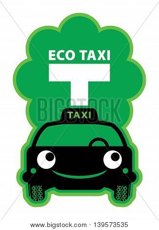 Eco Taxi sign or symbol, vector illustration