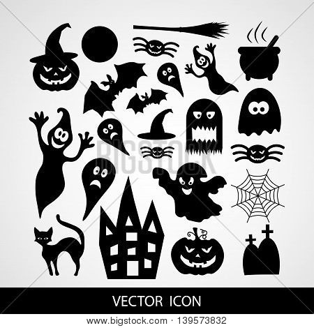 Set of black icons for Halloween n gray background