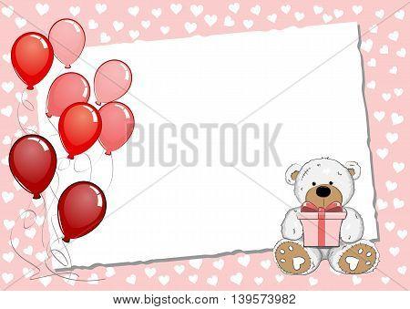 Pink Birthday Greeting Card With Teddy Bear