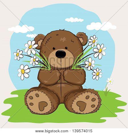 Cute Teddy Bear holding flowers in the garden