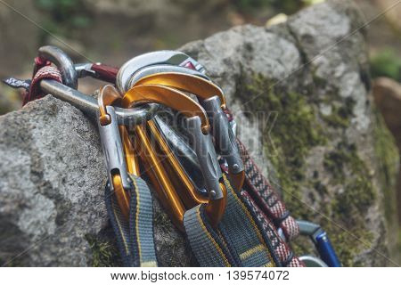 Climbing. A Bunch Of Carabiners On The Rocks