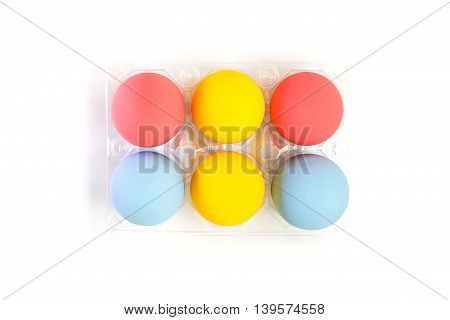 Top View Of Colorful Eggs In Plastic Box