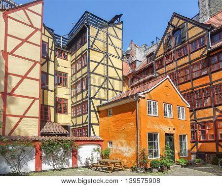 colorful frame houses in Copenhagen the capital city of Denmark