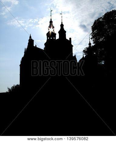 silhouette of the Rosenborg Castle in Copenhagen the capital city of Denmark