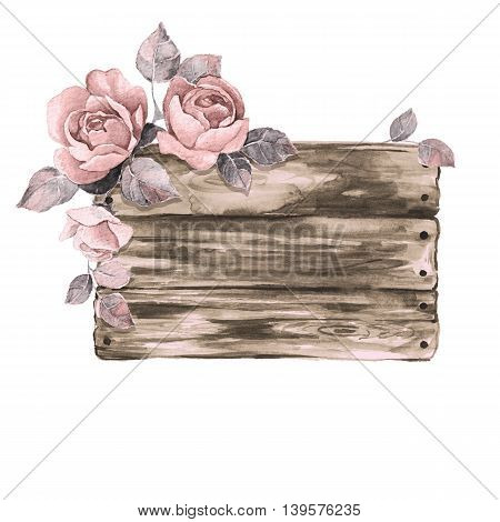 Wooden sign and flowers. Watercolor illustration. Hand drawn elements for design