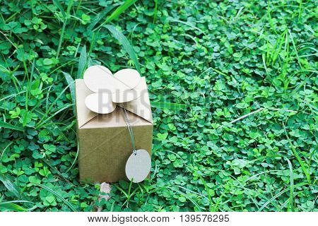 gift box wrapped with simple brown paper