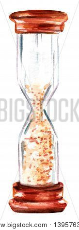 A watercolor drawing of a vintage hourglass hand painted on white; the concept of time