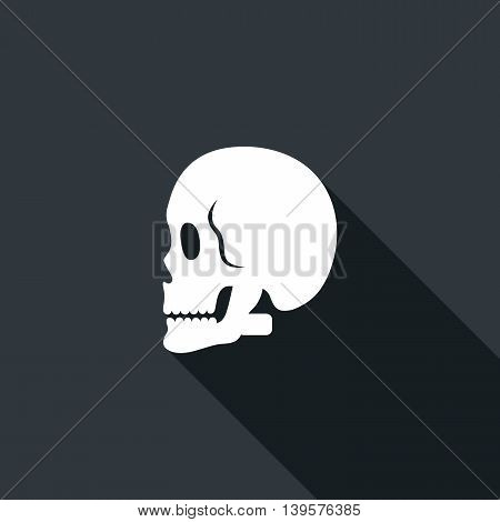 Long shadow icon with a skull. Vector illustration