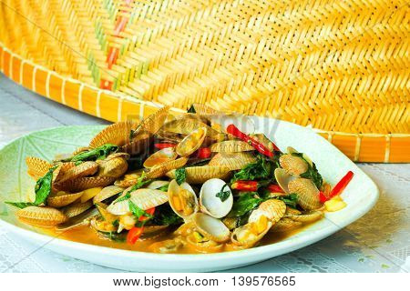 fried Clams with roasted chili pasteThailand food