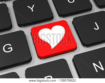 Heart Key On Keyboard Of Laptop Computer.