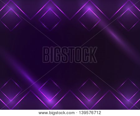 Square Borders with Light Effects. Vector Illustration, EPS 10