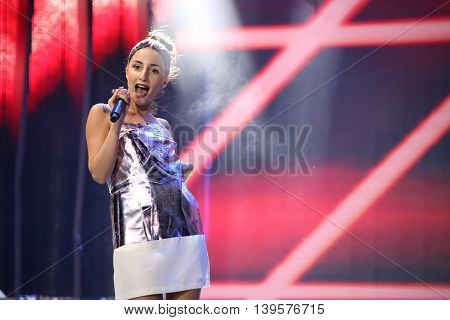 VITEBSK, BELARUS - JULY 17: Russian rap singer Kristina Si performs during the 25th Slavyansky Bazar Festival on July 17, 2016 in Vitebsk, Belarus