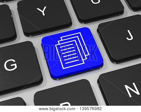 Documents Key On Keyboard Of Laptop Computer.