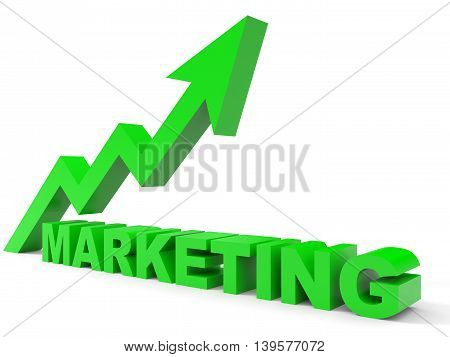 Graph up marketing arrow on white background. 3D illustration.