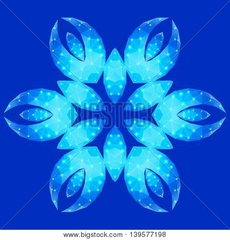 Polygonal geometric constellation in form flower with six petals on the blue background