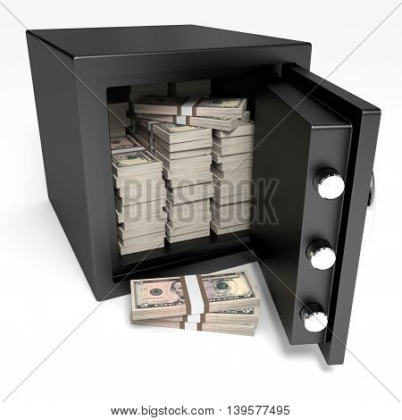 Opened Safe With Bank Notes. Five Dollars.