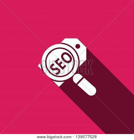 magnifier seo card icon with long shadow